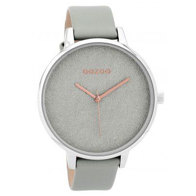 Oozoo C9591 Damenuhr mit Lederband Hellgrau 44 mm 8719929002355