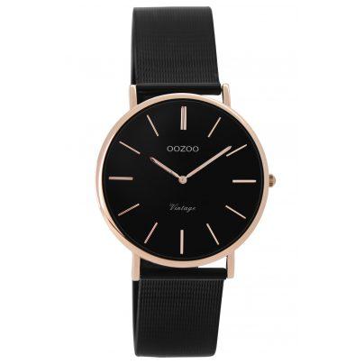 oozoo damen armbanduhr vintage schwarz ros 32 mm c8871. Black Bedroom Furniture Sets. Home Design Ideas